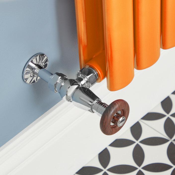 valve going into an orange radiator